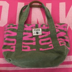 PINK Zebra canvas zip up tote bag